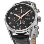 TAG HEUER CARRERA Calibre 16 Chronograph 43 mm Black Dial Leather Strap CV2A1AB.FC6379