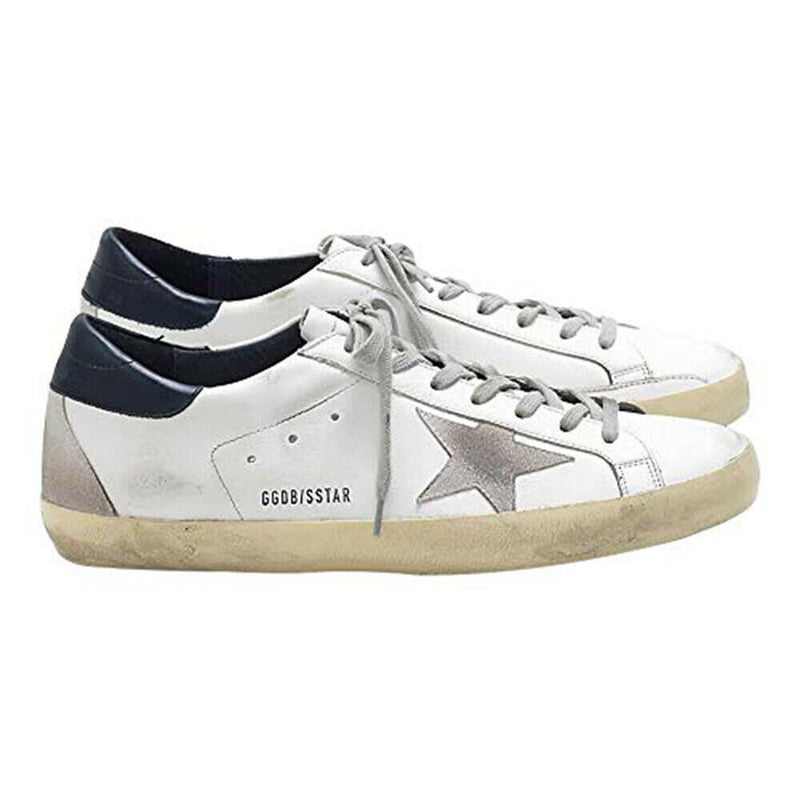 Golden Goose White-Navy Superstar Light Brownish Leather Rubber Men's Sneakers GCOMS590.A7