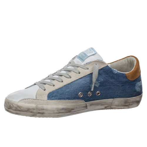 Golden Goose Deluxe Brand Superstar Blue/Denim Leather Mens Sneaker G36MS590.U60