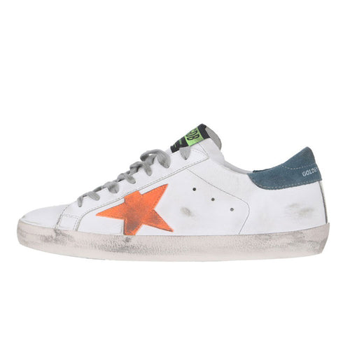 Golden Goose Deluxe Brand Superstar White/Orange Leather Mens Sneaker G36MS590.T79