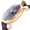 Gaga Milano Manyuare Reloj Men's Watch Blue Dial Purple Leather envío gratuito Stock 5021.9