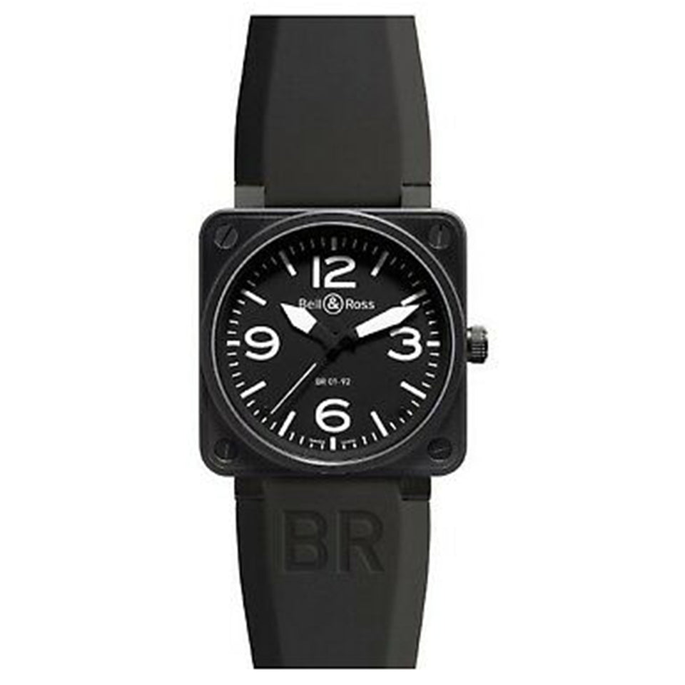 Bell and Ross Aviation Stainless Steel Men's Rubber Band Black Watch BR0192-BL-CA