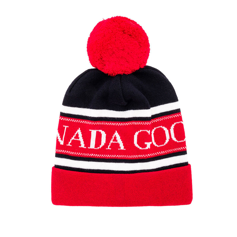 Canada Goose Women's Merino Wool Double Layered Pom Hat Navy/Red One Size 6193M