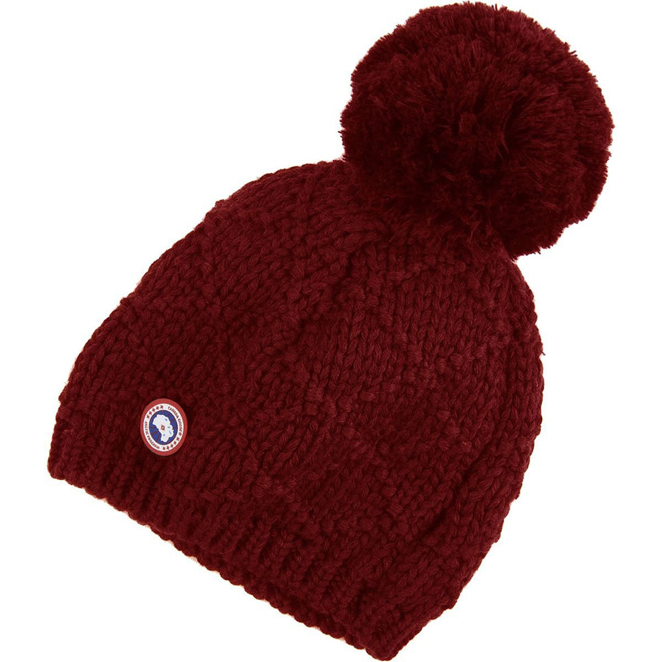 Canada Goose Giant Pom Toque Beanie Women's Redwood One Size Womens Oversized Pom Toque 5221L