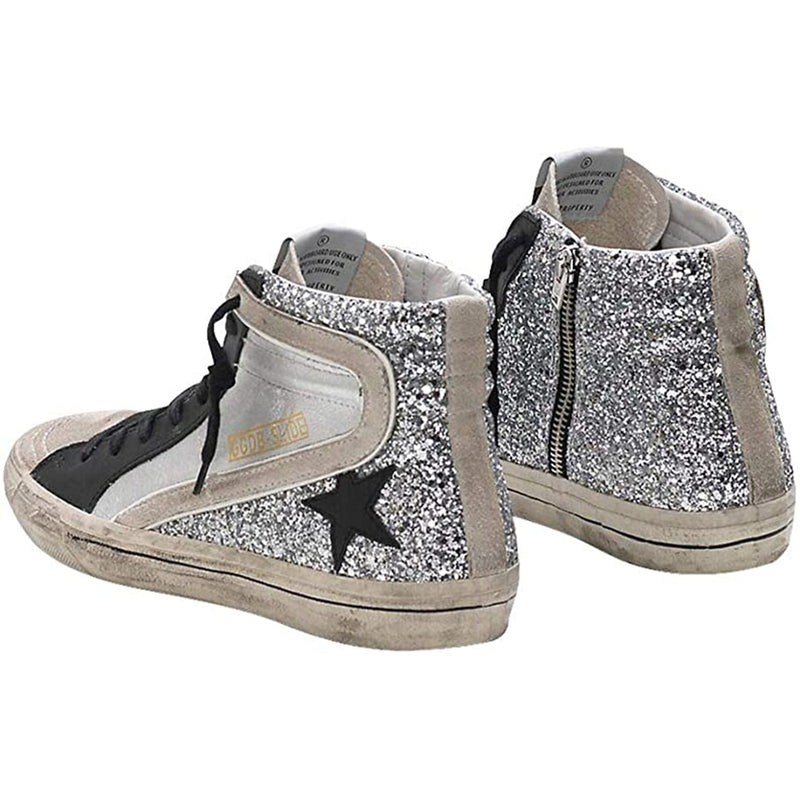 Golden Goose Slide in Metallic Rubber sole Women's Sneakers Silver G34WS595.A28