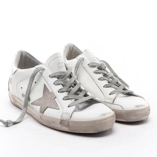 Golden Goose Deluxe Brand Superstar White with Star and Heel Tab in Suede Womens Sneakers GCOWS590.W77