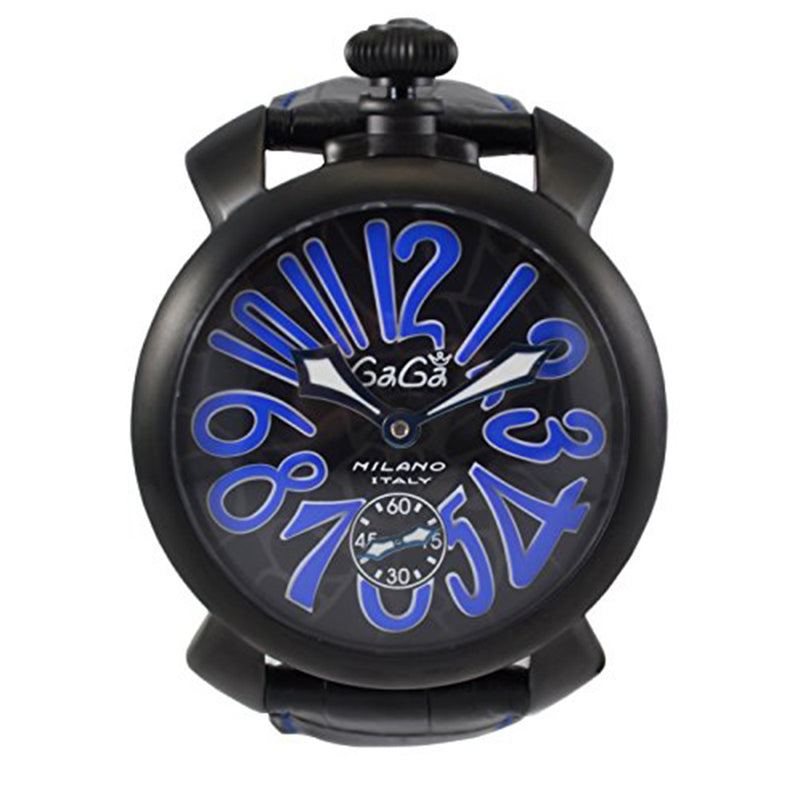 Gaga Milano Manuale 48 mm Negro PVD Men's Watch Black Dial and Leather Bracelet 5012.MOS.02