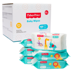 Fisher Price Premium Baby Wipes Unscented and Alcohol Free Resealable Top Box of 6, Total 480 Wipes