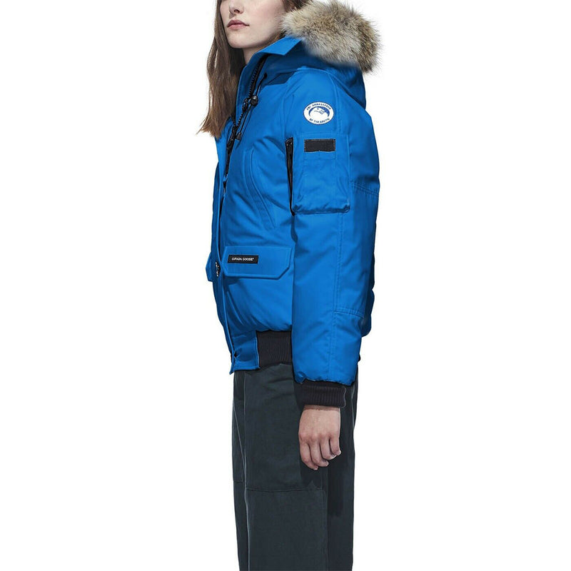 Canada Goose Women's PBI Chilliwack Bomber Jacket Storm Flap Blue Small Size 7999LPB