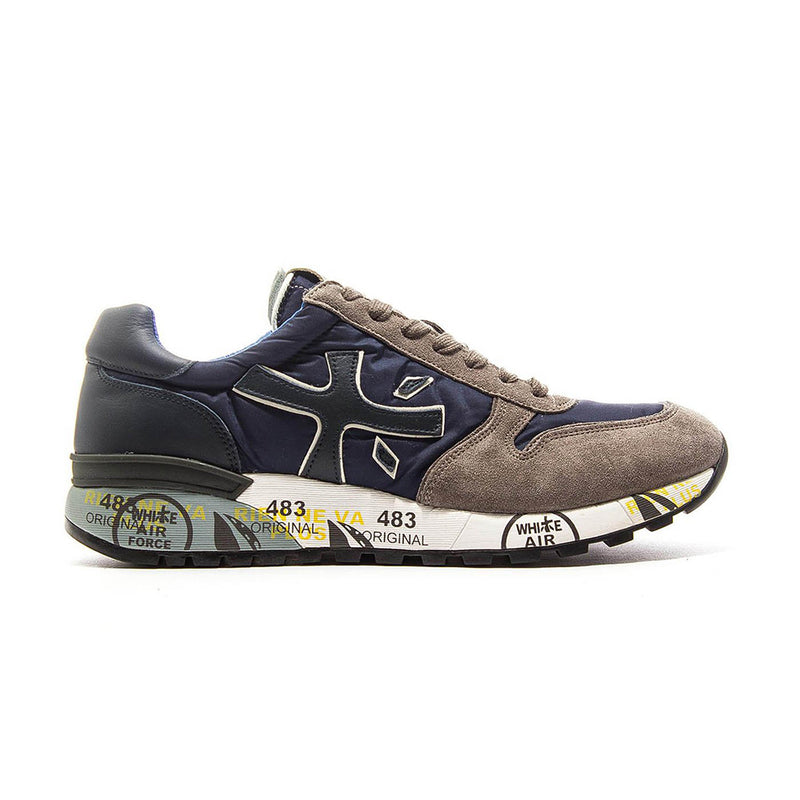 Premiata Mick 2326 Leather Fabric Rubber Sole Italian Sneakers for Men Blue Brown VAR2326