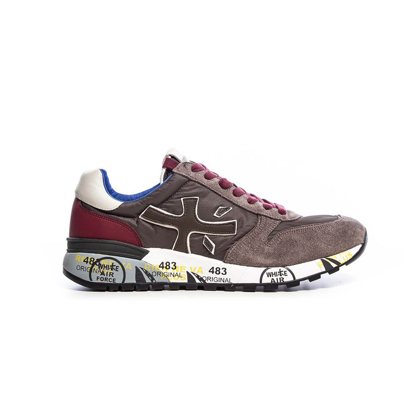 Premiata Mick 2321 Leather Fabric Rubber Sole Italian Sneakers for Men Red Brown VAR2321