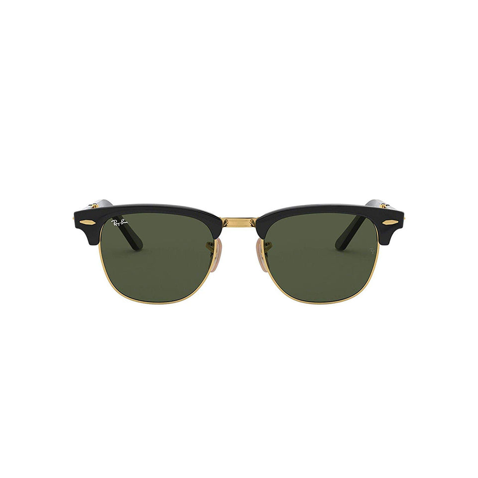 Ray Ban Clubmaster Folding Non Polarized 50 mm Green Lens Black Frame Sunglasses RB217699051