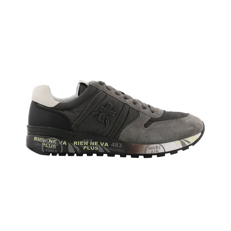 Premiata Lander Leather Fabric Rubber Sole Men's Sneakers Grey Color VAR2481