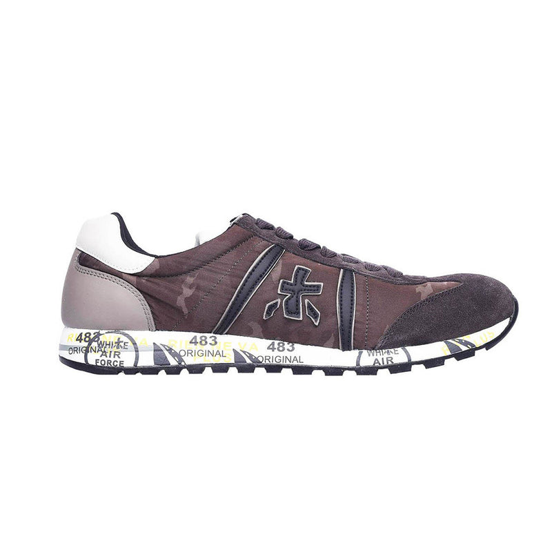 Premiata Lucy 2459 Leather Fabric Rubber Sole Italian Sneakers for Men Brown Camo VAR2459