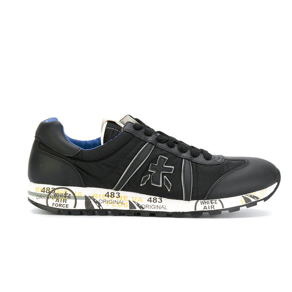 Premiata Lucy 2626 Leather Fabric Rubber Sole Italian Sneakers for Men Black VAR2626