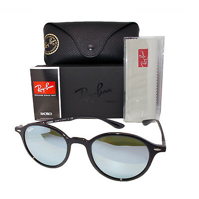 Ray Ban Round Liteforce Sunglasses Non-Polarized Silver Lens Black Frame RB4237601/30