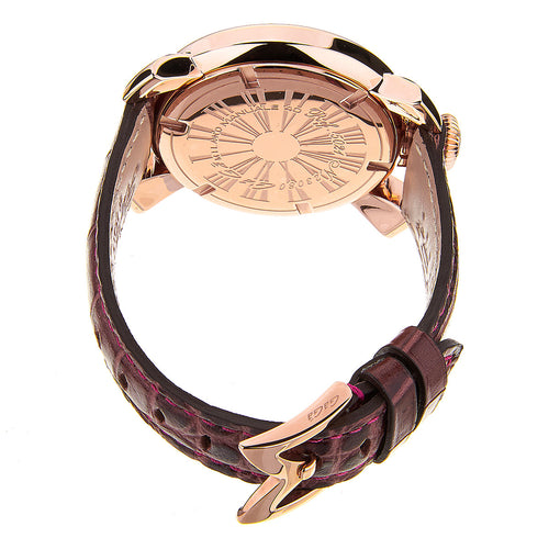 Gaga Milano Manuale 40mm Rose Gold Plated Watch For Women Dark Brown Leather Ref 5021.08