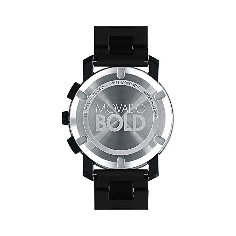Movado Bold Large Black Dial With Black Hands Black TR90 Composite Men's Watch 3600048