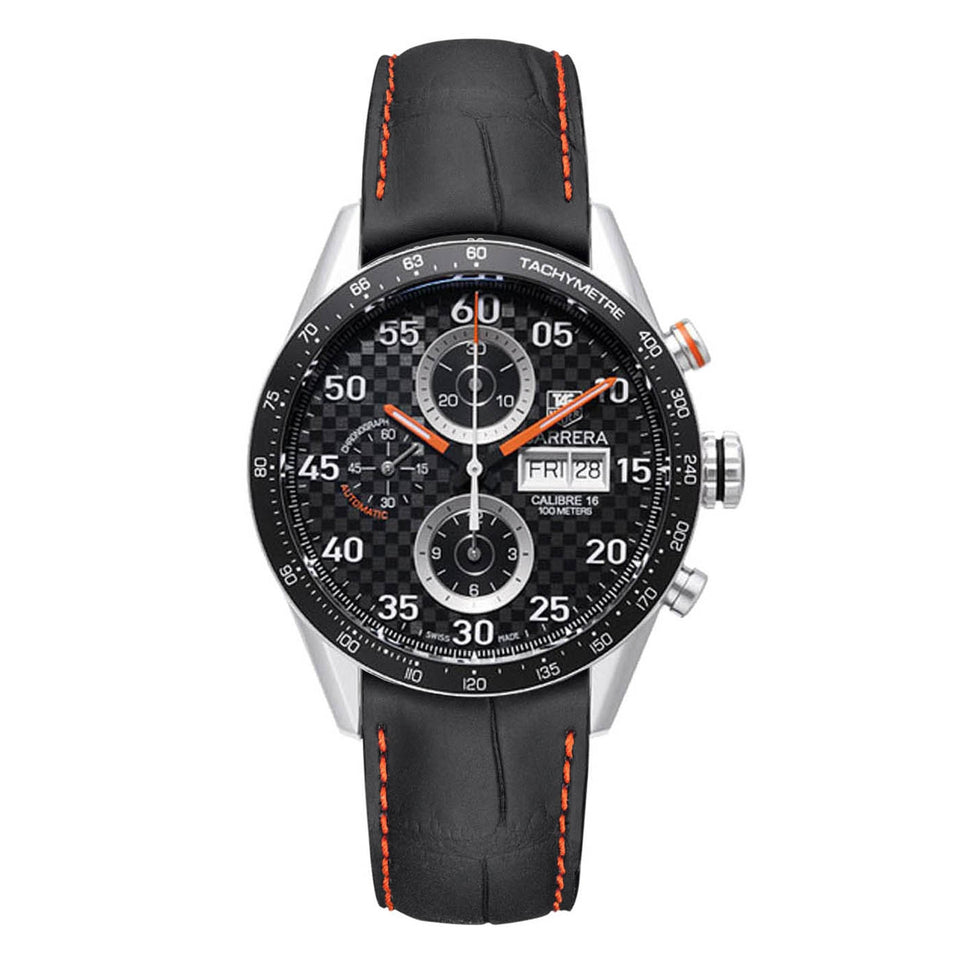 Tag Heuer Carrera Chronograph Men's Watch 41 mm Black Dial Leather Strap CV2A19.FC6269