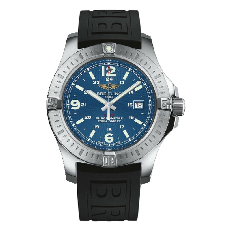 Breitling Colt Blue Dial Black Rubber Mens Watch with Stainless steel case A7438811/C907/152S