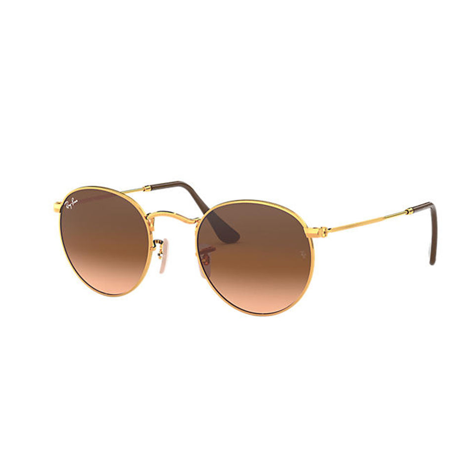 Ray-Ban Round 53 mm Pink Brown Gradient Lens Metal Frame Unisex RB34479001A5