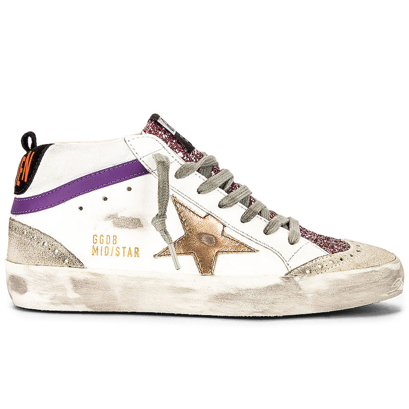 Golden Goose Mid Star Leather Upper Laminated Star Glitter Tongue Womens Sneakers
