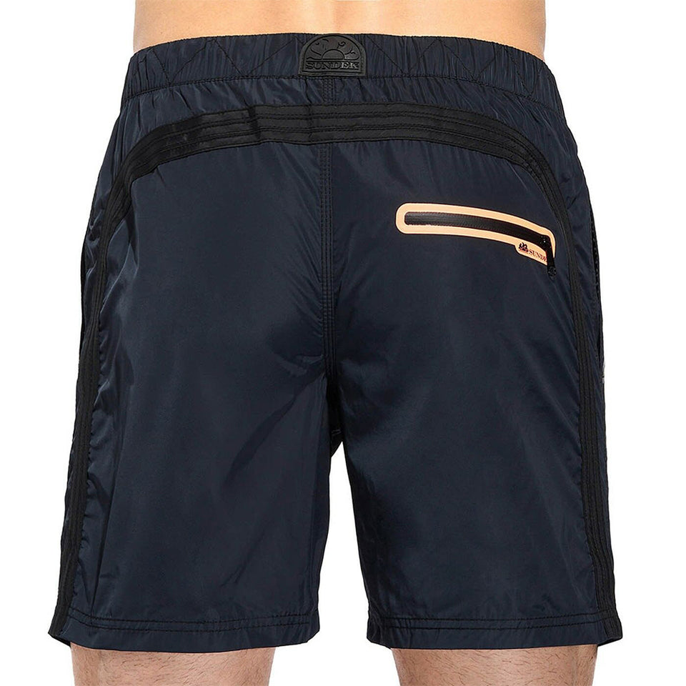 Sundek Men's Elastic Long Regular Waist Swim Shorts Welded Zip Pocket Polyester M561BDM060T