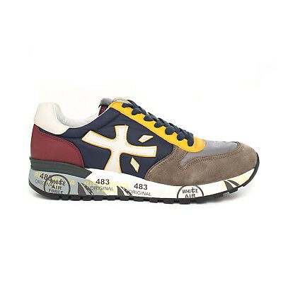 Premiata Mick 2338 Leather Fabric Rubber Sole Italian Sneakers for Men Blue Yellow VAR2338