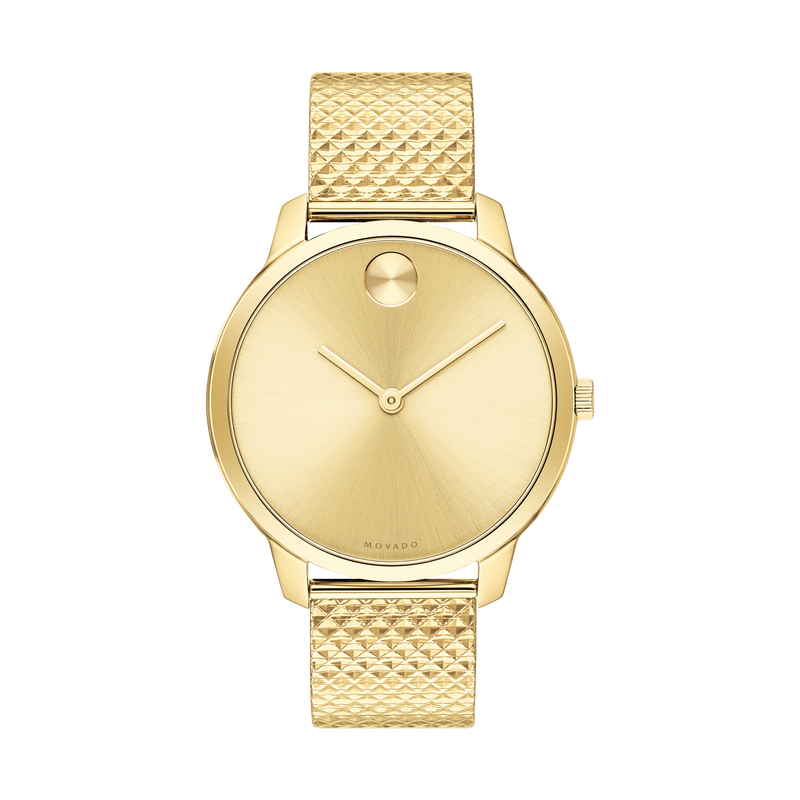 Movado BOLD 35 mm Pale Yellow Gold Ion-Plated Stainless Steel Case Womens Watch 3600598