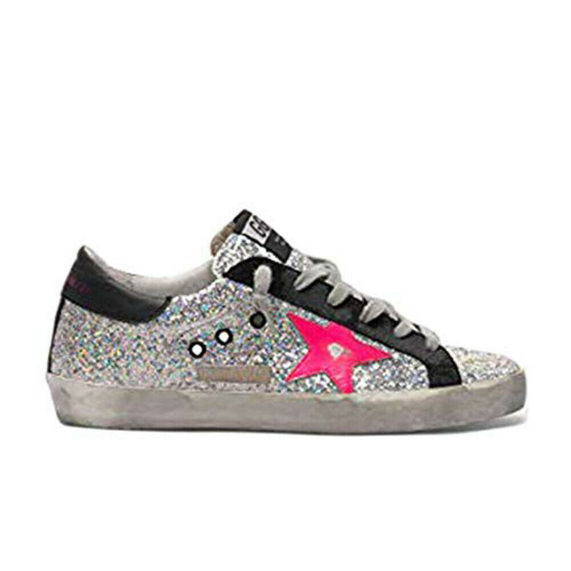 Golden Goose Superstar Fucsia Leather Vintage Rubber Sole Glitter Ladies Sneakers G35WS590.R78