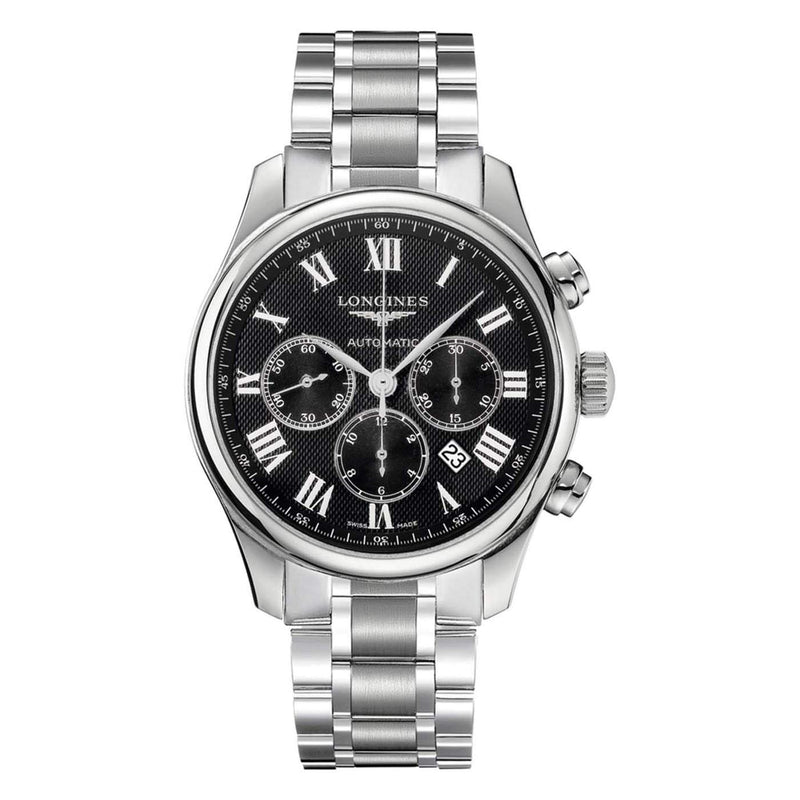 Longines Master Collection Chronograph Automatic Men's Watch 44mm Black Silver L28594516