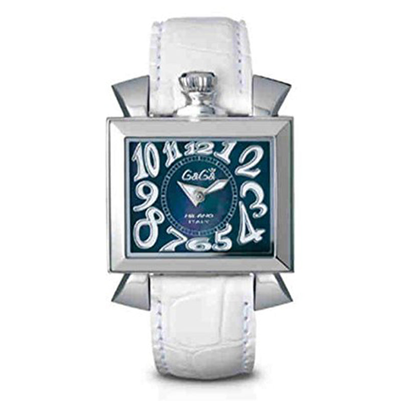 GaGa Milano Napoleone Steel Case 40 mm Ladies Watch Blue Dial White Leather Ref 6030.4