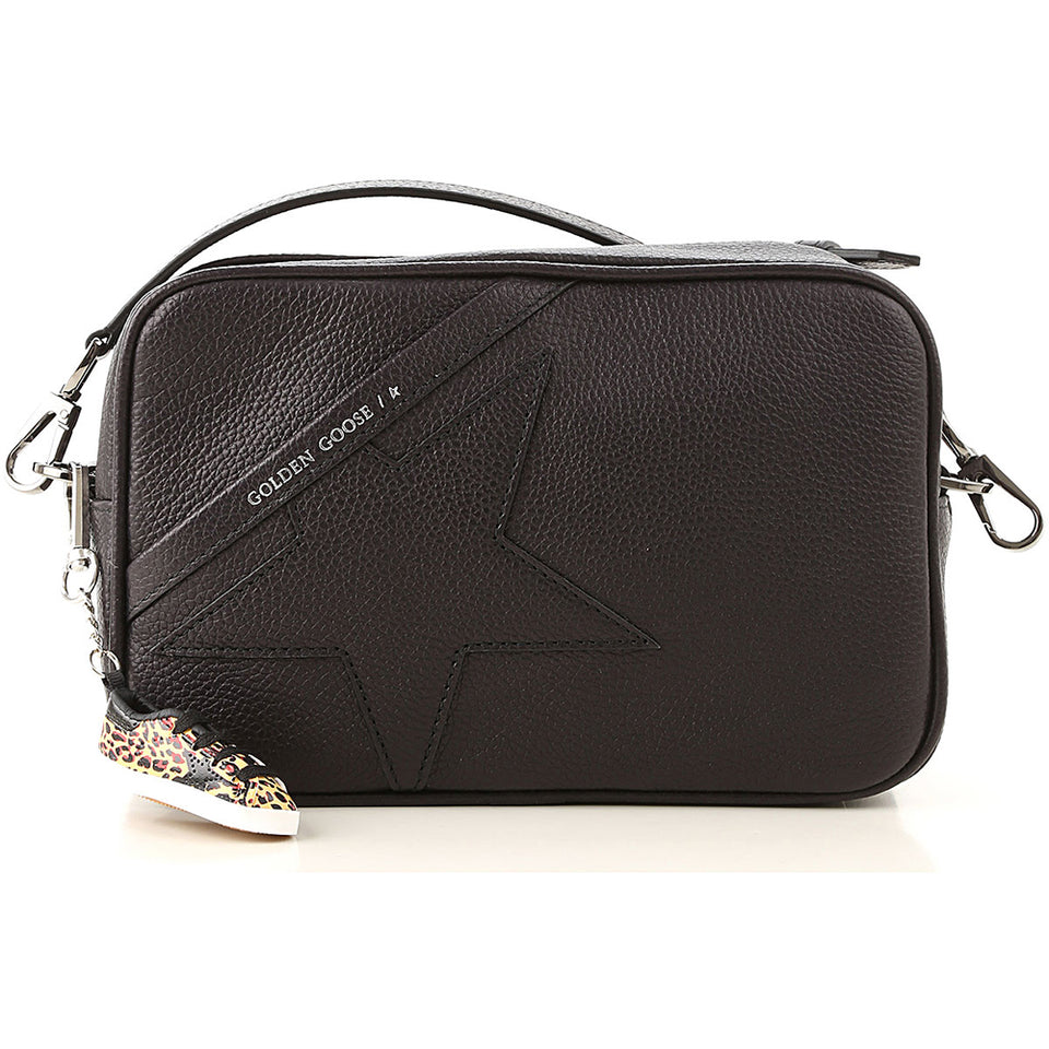 Golden Goose Womens Shoulder Star Bag In Grained Leather - Black G36WA881.A1