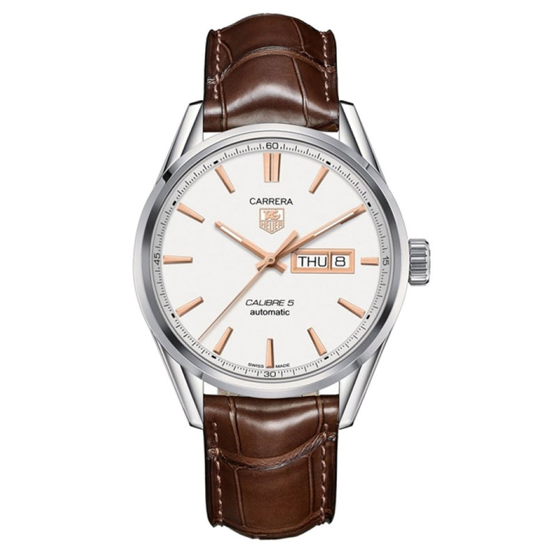 Tag Heuer Carrera Automatic Men's Watch 41 mm White Dial Brown Leather Strap WAR201D.FC6291