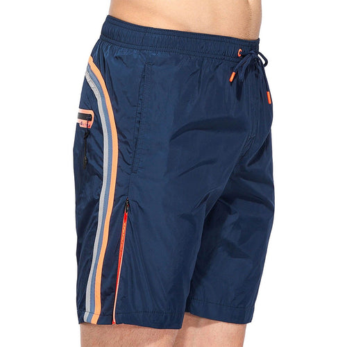 Sundek Elastic Waist Long Swim Shorts Fixed Strap Welded Pocket Polyester M567BDM0600