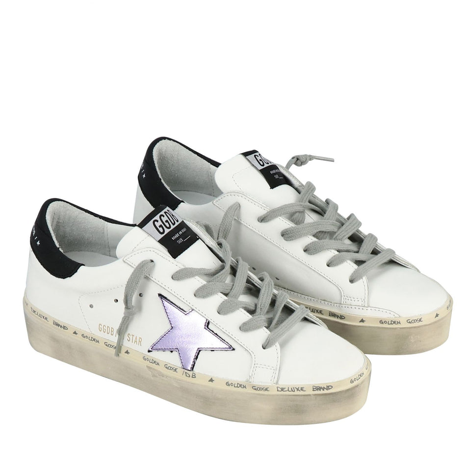 Golden Goose Hi Star White with Laminated Star Womens Sneakers - White G36WS945.M2-40