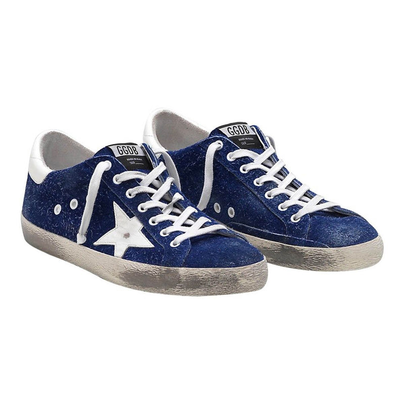 Golden Goose Superstar Blue Calf Leather Smooth White Men's Sneakers G33MS590.H87