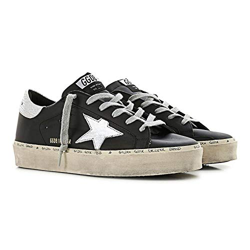 Golden Goose Black and Silver Rubber sole Hi-Star Women Sneakers G34WS945.B9-35 (5 US)