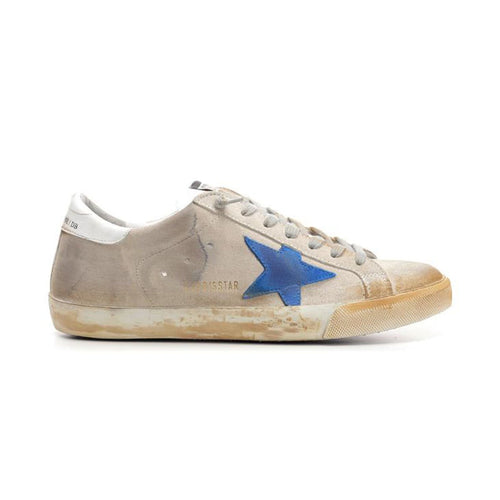 Golden Goose Superstar Fashionable Grey-Blue Smooth Leather Men's Sneakers G35MS590.Q71