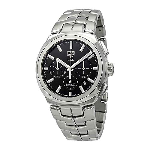 Tag Heuer Link Chronograph 41 mm Black Dial Silver-tone Hand Men's Watch CBC2110.BA0603