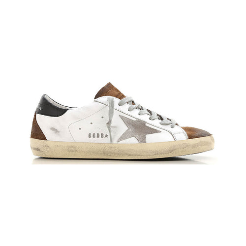 Golden Goose Superstar Leather With Suede Iconic Design Men's Sneakers -White/Brown G35MS590.Q18