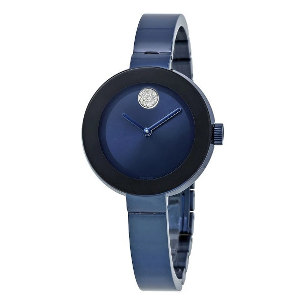 Movado Bold Blue Dial Stainless Steel Water Resistant Blue Ion-Plated Ladies Watch 3600425