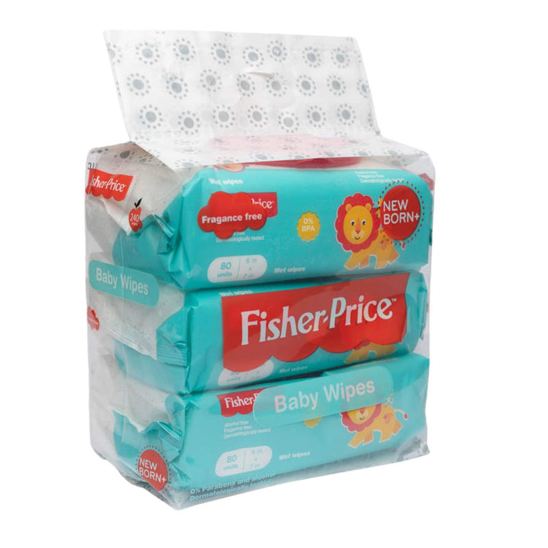 Fisher Price Premium Baby Wipes Unscented and Alcohol Free Flip Top Pack of 3, Total 240 Wipes