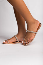 "Load image into Gallery viewer, ""Sparkle""Rhinestone Flat Sandal - Belle Avi"