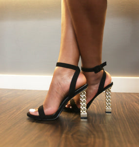 """Erin"" Gold Chain Block Heel - Belle Avi"