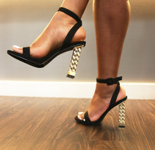 "Load image into Gallery viewer, ""Erin"" Gold Chain Block Heel - Belle Avi"