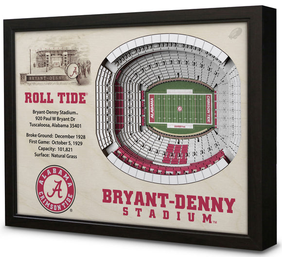 Alabama Crimson Tide | 3D Stadium View | Bryant Denny Stadium | Wall Art | Wood