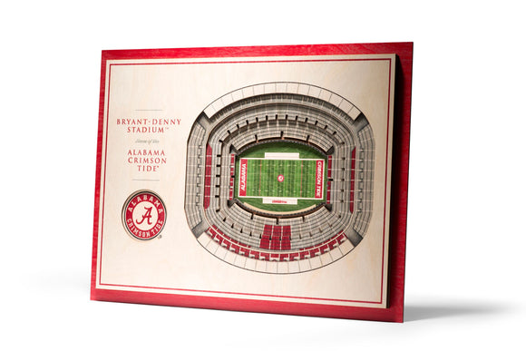 Alabama Crimson Tide | 3D Stadium View | Bryant-Denny Stadium | Wall Art | Wood | 5 Layer