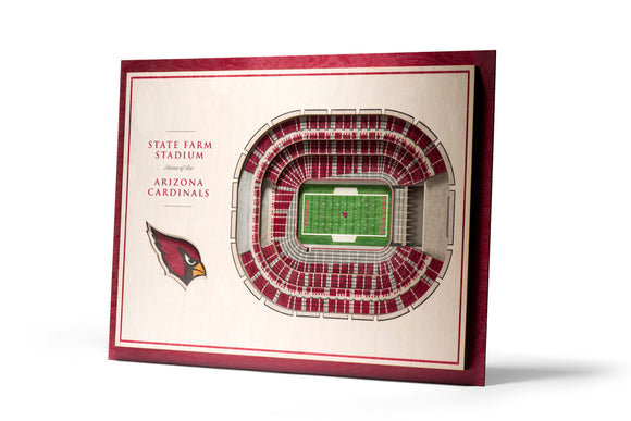 Arizona Cardinals | 3D Stadium View | State Farm Stadium | Wall Art | Wood | 5 Layer