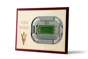 Arizona State Sun Devils | 3D Stadium View | Sun Devil Stadium | Wall Art | Wood | 5 Layer